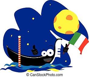 funny gondola - a vector cartoon representing a funny...