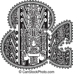 & symbol with ancient drawing. Vector illustration