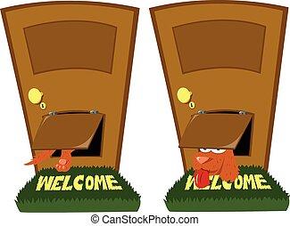 Doggie door - a funny dog using a doggie door