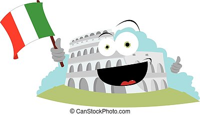 Funny Colosseum Holding an Italian Flag - a vector cartoon...