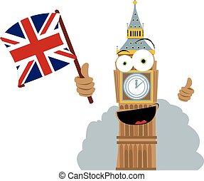 Funny Big Ben Holding a Flag - a vector cartoon representing...