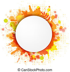 Abstract Orange Bubble With Blobs, Isolated On White...