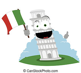 Funny Leaning Tower of Pisa - cartoon representing a funny...