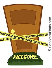 Door with police line tape - A closed door and a police line...