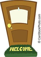 csukott, ajtó, tiszta, aláír