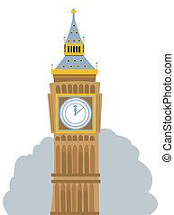 Big Ben Cartoon - cartoon representing the Big Ben, in...
