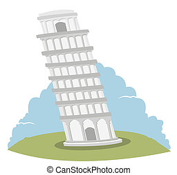 Leaning Tower of Pisa - a cute illustration representing the...