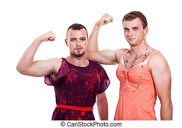 Transvestites showing biceps - Cross-dressing concept,...