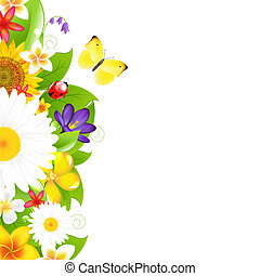 Summer Flowers And Leaf Border, Vector Illustration