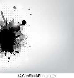 Black Blob And Stars, Isolated On Grey Background, Vector...