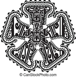 asterisk symbol with ancient drawing. Vector illustration