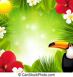 Green Background With Tropical Elements And Flowers