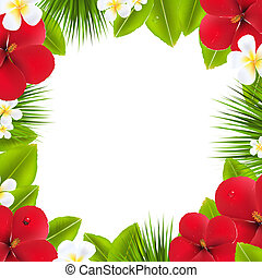 Green Border With Tropical Elements