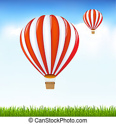 Hot Air Balloons Floating In Sky, Vector Illustration