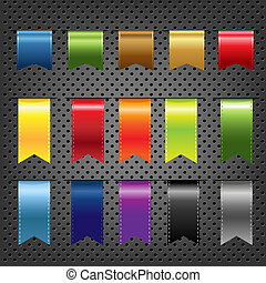 Abstract Metal Background With Ribbons Set, Vector...