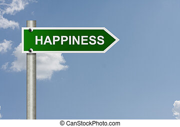 Your way to happiness - An American road sign with sky...
