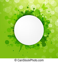 Speech Bubble With Green Blots And Bokeh