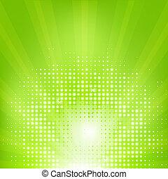 Eco Green Background With Sunburst, Vector Illustration