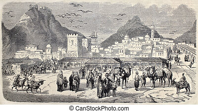 Aden - Antique illustration shows a view of Aden. Original,...