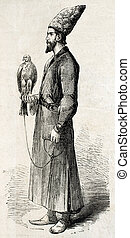 Falconer - Antique illustration of a falconer with his hawk...