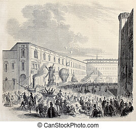 Turin carnival - Old illustration of Turin carnival in 1860:...