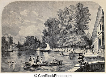 Fontainebleau - Antique illustrations of Fontainebleau basin...