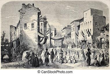 Corpus Christi - Old illustration of Corpus Christi feast...