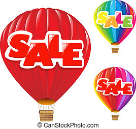 Sale Air Balloon - 3 Sale Air Balloon, Isolated On White...