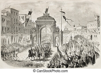 Victor Emmanuel in Florence - Antique illustration of Victor...