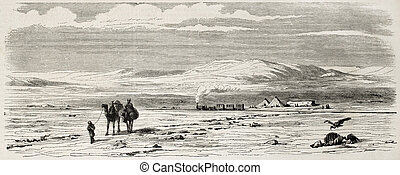 Desert railway - Antique illustration of a railway station...