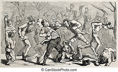 Boxing brawl - Antique humorous illustration of a brawl...