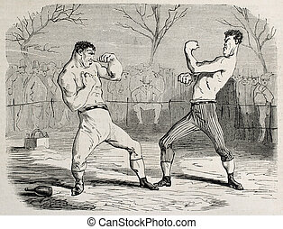 Match beginning - Antique humorous illustration of a boxing...