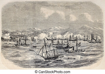 Moroccan Expedition - Antique illustration of Spanish ships...