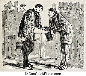 Hand shake - Antique illustration of two man shaking hands....