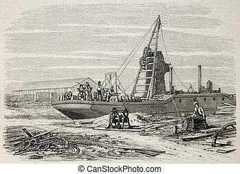 Dredger - Old illustration of a dredger in Port Said,...