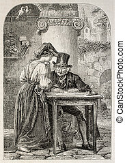 Public scrivener - Antique illustration of a woman speaking...