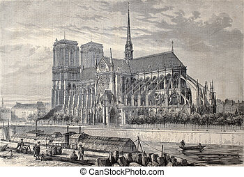 Notre Dame de Paris - Antique engraved illustration of Notre...