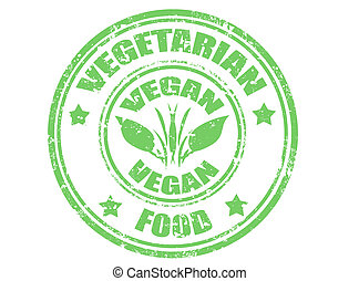 Vegan stamp - Grunge rubber stamp with word vegetarian...