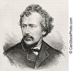 Train - Old engraved portrait of George Francis Train,...