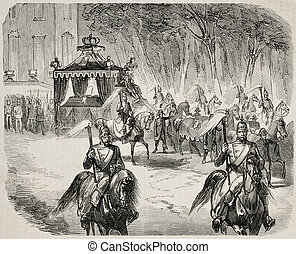 Funeral procession - Antique illustration of funerary...