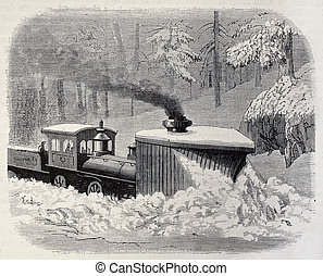 Snow plough locomotive - Old illustration of a snow plough...