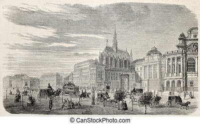 Justice Palace of Paris - Old illustration of Justice Palace...