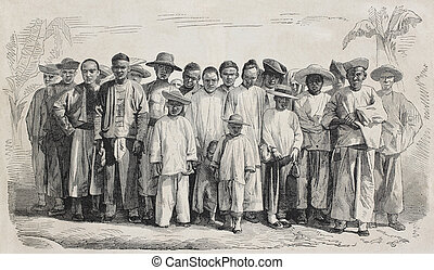 Chinese immigrants - Old illustration of Chinese immigrants...