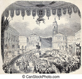 Farini in Turin - Old illustration of Emilias Governor...