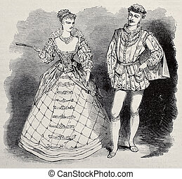 Aristocratic costumes - Old illustration of 17th century...