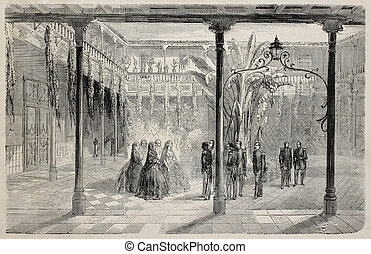 Tenerife house - Old illustration of French officers...