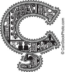 symbol with ancient drawing. Vector illustration