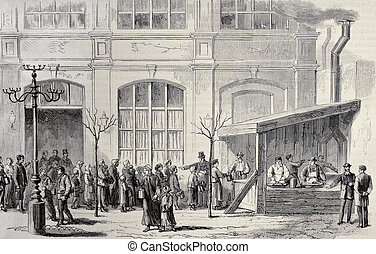 Charity food distribution - Old illustration of charity food...