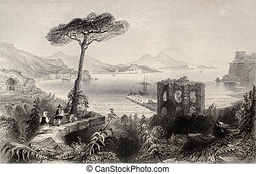Naples bay - Antique illustration of Naples bay, whit...