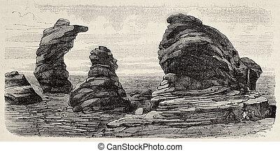 Laramie plains - Antique illustration of granite formations...